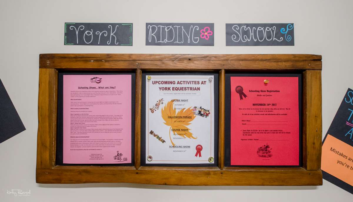 The Riding School office is open from 9am - 5pm, seven days a week. Check out the display in front of the office for information on upcoming events.